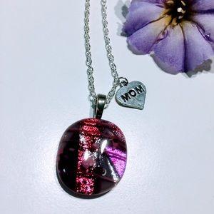 Pretty dichrotic glass pendant necklace mom charm